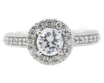 Vintage Inspired Diamond Halo Engagement Ring - Tulip Kisses