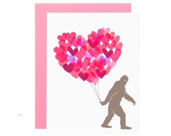 YETTI LOVE card. Illustrated big foot love card. Anniversary card. Valentines Day card. Sweet love card. Funny love card.