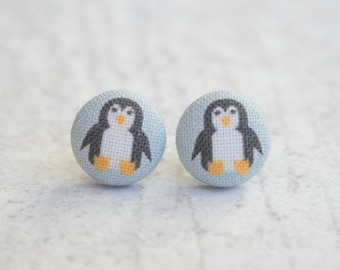Penguins Fabric Button Earrings