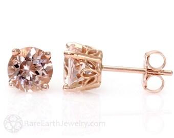 Morganite Earrings Rose Gold Morganite Stud Earrings From Pick your Size Post Earrings