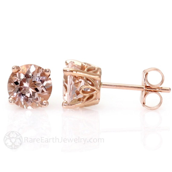 Morganite Earrings Rose Gold Morganite Stud Earrings From Pick