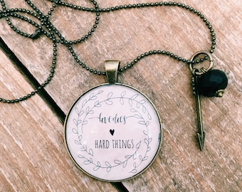 Foster Necklace, Foster Mom Necklace, Love does hard things, Necklace for Mom, Adoption Necklace, Adoptive Mom Gift