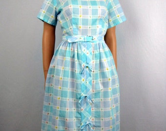 Vintage 1960s Day Dress ~ Sky Blue Plaid ~ Tiny Embroidered Flowers ~ Short Sleeves ~ Medium/Large
