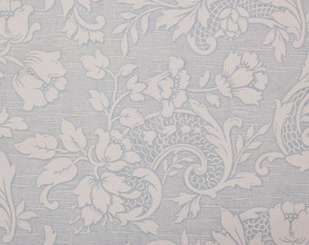 1960s Vintage Wallpaper Textured Embossed White Floral on Blue by the Yard