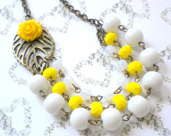 Yellow Necklace Yellow Flower Necklace Yellow Statement Necklace Summer Wedding Yellow Bridesmaid Jewelry Yellow Bib Necklace Wedding Gift