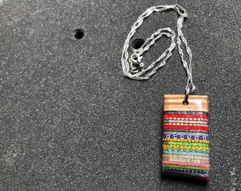 Rectangle Recycled Skateboard Pendant with dope hand-painted details
