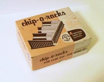 Vintage puce-O-grilles individuelles en bakélite Poker Chip Rackers