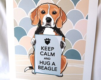 Keep Calm Beagle with Khaki-Gray Scaled Background - 7x9 Eco-friendly Print on Linen Paper