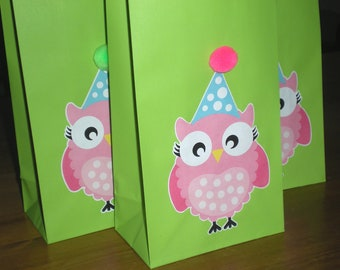 Pink Owl Birthday Party Favor/Treat bags - Set of 10