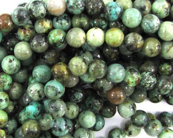 """6mm african turquoise round beads 15.5"""" strand 30013"""