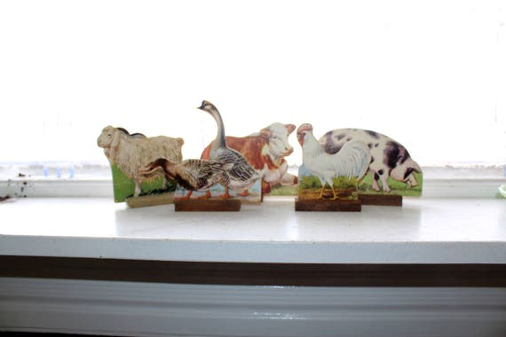 5 Large Farm Animal Standing Figures Wood and Cardboard Vintage 1950s