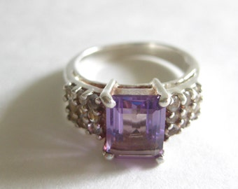 Purple Marcasite 925 Sterling Ring Amethyst Size 7 Vintage