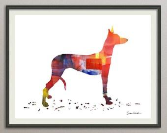 ibizan hound dog art print watercolor print  silhouette painting print poster wall art decor drawing, dog wall art silhouette