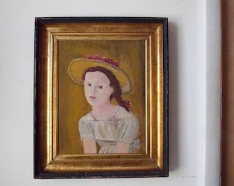 Vintage Folk Art Portrait of a Young Girl