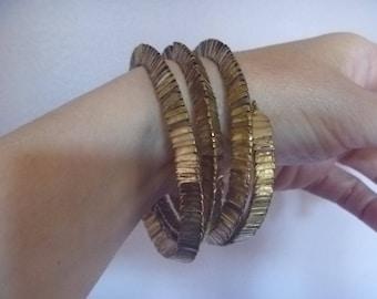 vintage gold tone spiral bracelet, spiral cuff bangle