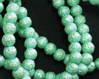 24pc - 6mm Textured Mint Green Round Sphere WRINKLE PEARL Spacer Beads