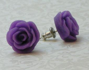 Rose Flower Earrings - Lavender Purple