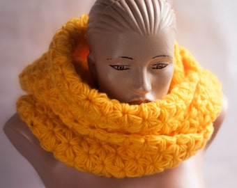 Ready to Ship - Hooded Scarf. Wool Scarf. Yellow hood. Chunky Scarf. Scoodie Scarf.  LoveKnittings