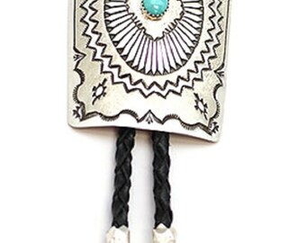 Etched Turquoise Bolo Tie