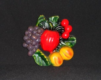 Vintage Chalkware FRUIT Wall Hanging-Home Decor-Retro House-Chalk Art-Vibrant-Apple-Grapes-Peaches-Cherries-Leaf-Orphaned Treasure-X031318D