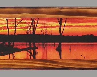 Sunset, Scenic Panorama on wood