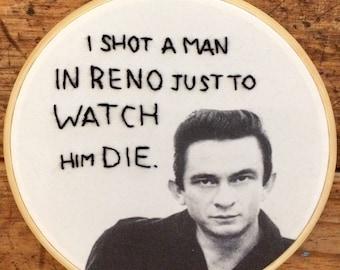 Johnny Cash - hand embroidery hoop art