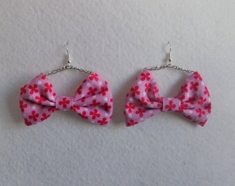 Pink bow tie liberty fabric chain earring
