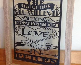 The Greatest Thing You Will Ever Learn - Moulin Rouge Inspired - Paper Cut Layered in Floating Frame