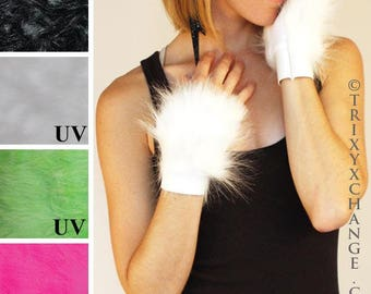 TRIXY XCHANGE - White Fur Cuffs White Dress Gloves Fancy Dinner Party Costume Gala White Gloves Glow In The Dark Animal Cosplay Furry Cat