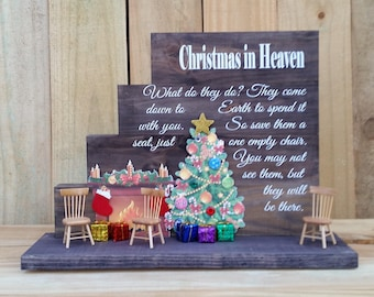 Christmas in Heaven, Christmas in Heaven with chair, Christmas in Heaven Poem, Christmas in heaven display, Christmas stacked blocks,