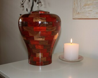 """Custom Wooden Cremation Urn for Human Ashes - Artistic Individual Urn for Adults - Personalized Urn - Funeral Urn - """"Tranquility"""""""