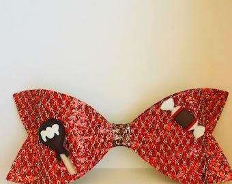 Large Red / Gold and Brown / Gold Mesh Glitter Fabric Hair bow on Alligator Clip, Tootsie Roll and Lollipop Candy Flat back resin girl