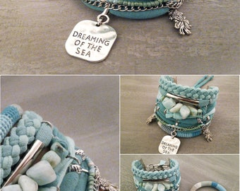Dreaming of the Sea Amazonite Bracelet Mermaid Bracelet Seafoam Bracelet Bohemian Bracelet Boho Jewelry Boho Bracelet Set Goldfish Koi Charm