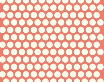 Organic Coral Polka Dot Fabric - Birch Dottie 1/2 Yard