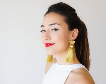 Gold Earrings Tassel Earrings Statement Jewelry Women Gift For Girlfriend Wife Gift For Best Friend Gold Jewelry Brass Earrings / CHASSIO