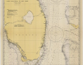 Cape Canaveral to Key West Map - 1945
