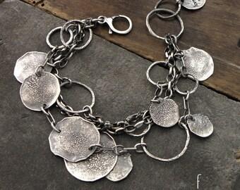 form017 collection - 100% Ag bracelet, raw sterling silver bracelet, oxidized silver