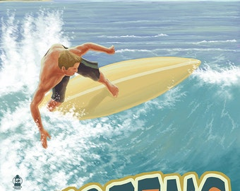 San Diego, California - Surfer Tropical (Art Prints available in multiple sizes)