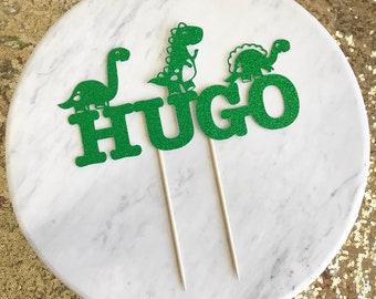 Dinosaur birthday cake topper, dinosaur party cake topper, first birthday cake topper, name cake topper