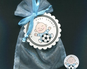 Baby Shower Favor Bags - Baby Boy Favor - Personalized Favor - Favor Tag, Candy Stickers, Blue Organza Bag -  Baby Boy With Soccer Ball - 20