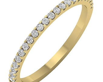 SALE .30ct Natural Diamond 2.10mm Wedding Band/Anniverary Ring/Engagement/Infinity STACKABLE Available in 14k White, Yellow or Rose Gold
