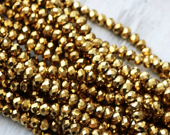 6x8mm Full Strand Metallic Gold Glass Beads Rondelle Jewelry Beads Sparkling Glass Lead Free