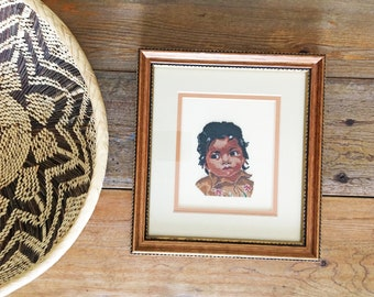 Vintage Embroidered Native Indian Boy/Petit Point Embroidery/Native Art/Framed Cross Stitch/Native American Child/Vintage Needlepoint