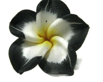 21mm Black Polymer Clay Plumeria Flower Beads set of 4 (P18)