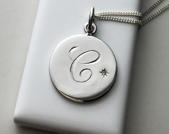 April Birthstone Initial Necklace in Sterling Silver
