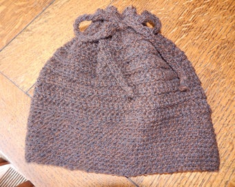 Hand Crocheted Baby Alpaca Drawstring Cap Convertible  Cowl OOAK SOFT and WARM Bun Hat