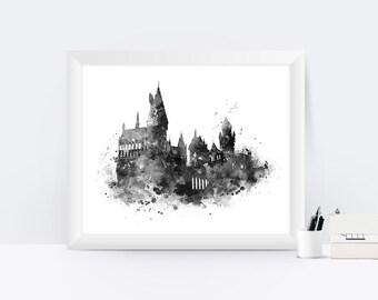 Hogwarts Castle Print Hogwarts Poster Harry Potter Print Hogwarts Print Black and White Harry Potter Art Poster Printable Christmas Gift