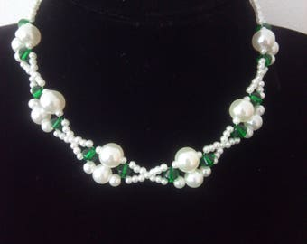 Elegant Pearl Crystal Necklace 5254