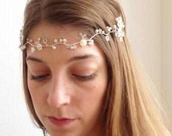 Boho Bridal Hair Vine - Forehead Halo Headband made with Pearls & CRYSTALLIZED™ Swarovski Element Crystals UK