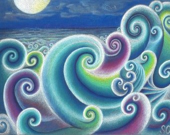 Fibonacci's Sea, art print of moonlit Seascape, swirlling ocean seas in blue, purple moonlit sea, Archival quality print of original art